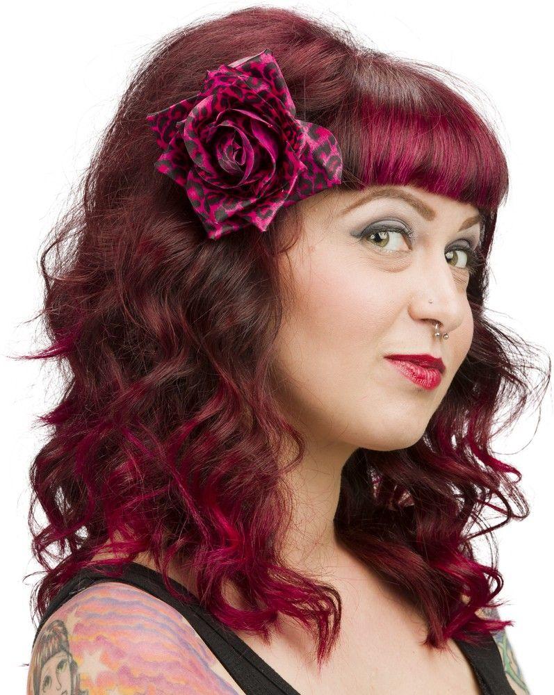 SOURPUSS PINK LEOPARD HAIR ROSE CLIP - Hair Accessories - Accessories - Gals