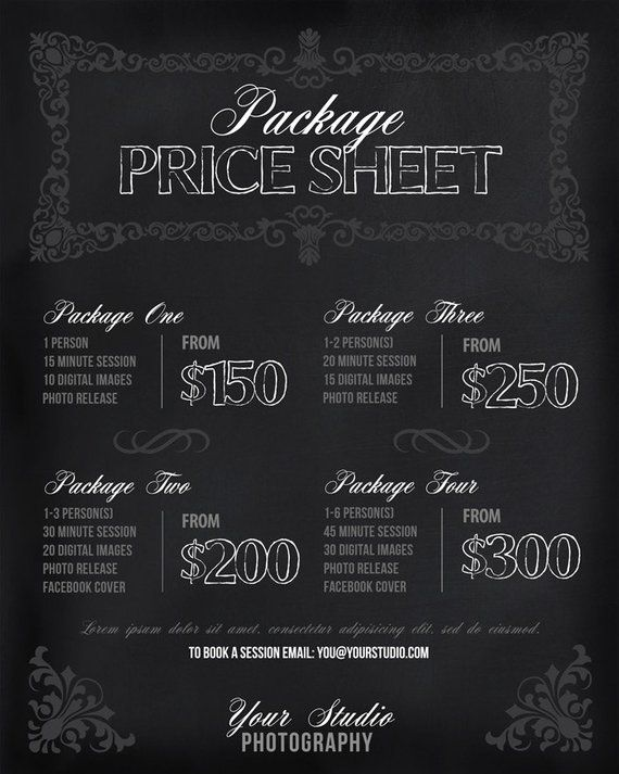 Photography Price List - Chalkboard Photography Package Pricing - Price Sheet Template
