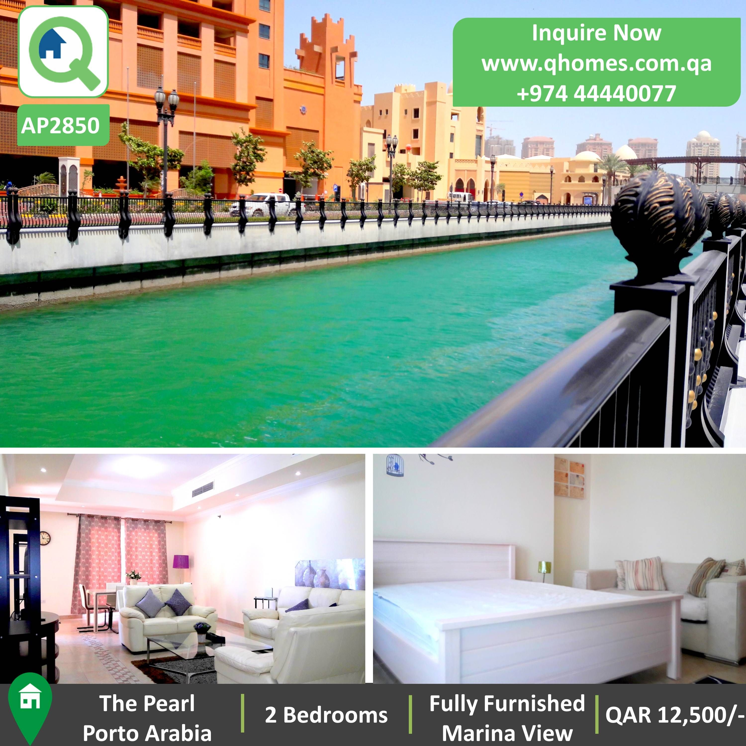 Apartment For Rent In Pearl Qatar Semi Furnished 2 Bedrooms Porto Arabia At Qar 12 500