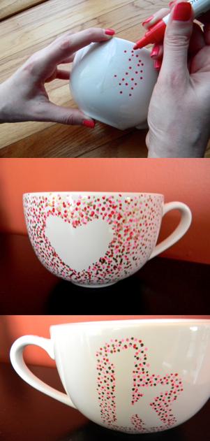 Sharpie Mug DIY: monogram and hearts