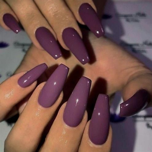Plum Purple On Long Coffin Nails Picture And Nail Design By Gorgeousnailsbyvicky Follow Her For Coffin Nails Long Purple Nails Best Acrylic Nails