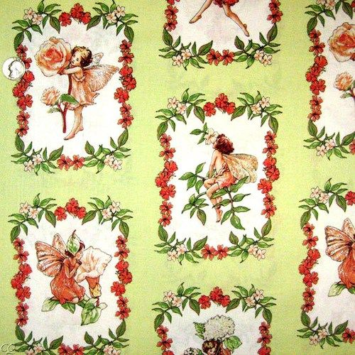 1 Yard Quilt Fabric Sweet Flower Fairies Girls Fabric Glitter Green