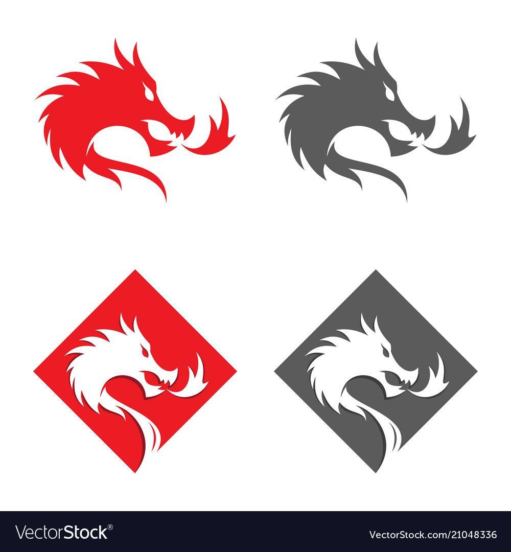 Square fire dragon vector image on Dragon silhouette