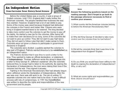 An Independent Nation 3rd Grade Reading Comprehension Worksheet Reading Comprehension 3rd Grade Reading Comprehension Worksheets Reading Comprehension Worksheets