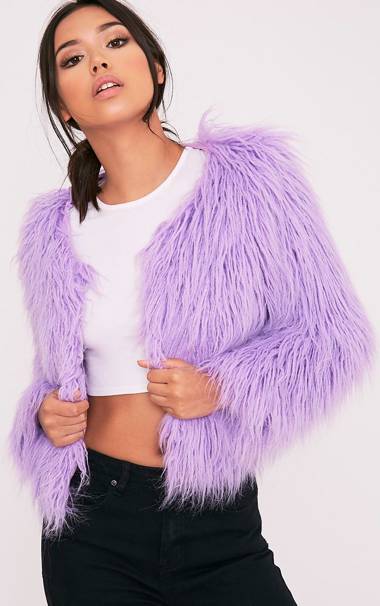 26999cf967c Liddie Lilac Faux Fur Shaggy Cropped Jacket Image 1