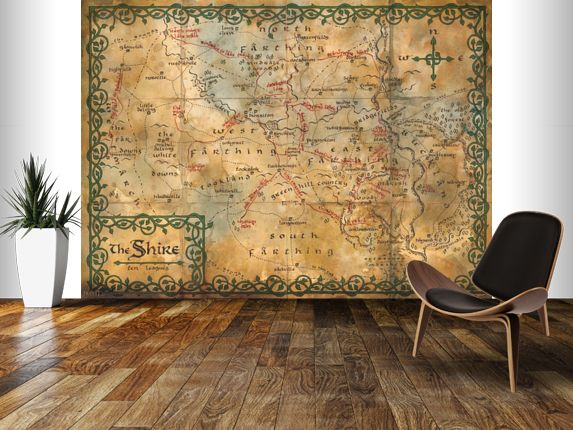 Map Wall Mural map of the shire, middle earth wall mural | the hobbit | geek man