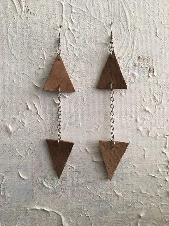 Photo of Long Triangle Dangle Earrings, Boho Textile Earrings, Geometric Leather Earrings, Minimalist Dangle Earrings