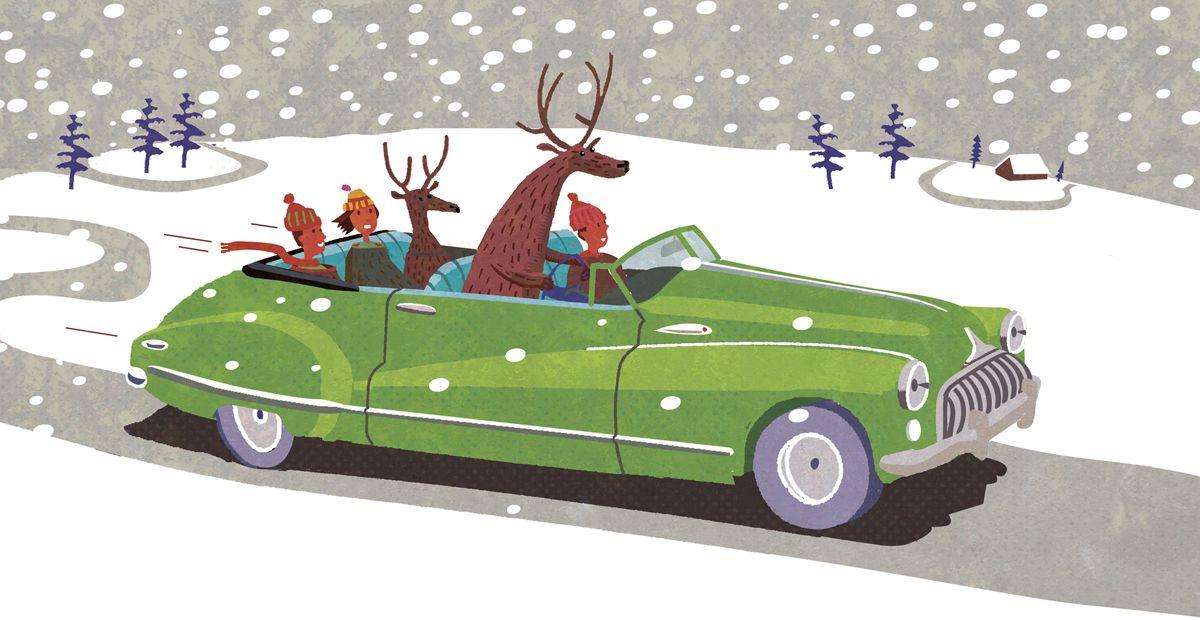 #paulboston #meiklejohn #illustration #digital #stylised #character #snow #snowscene #car