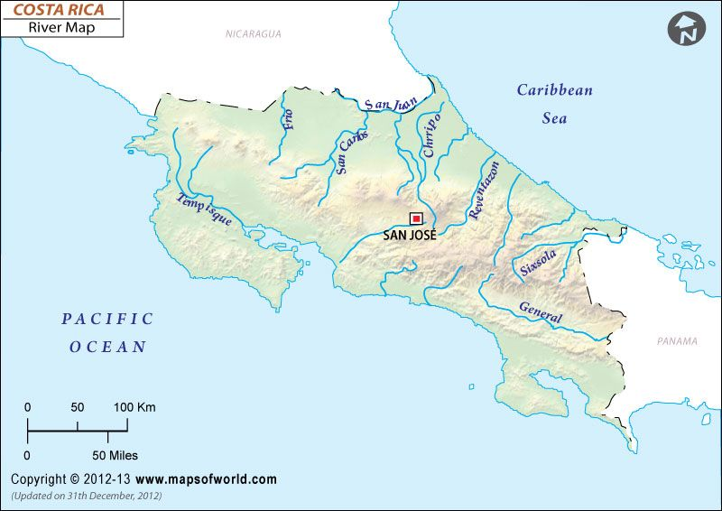 Rivers In Costa Rica Costa Rica River Map Map Costa Rica River