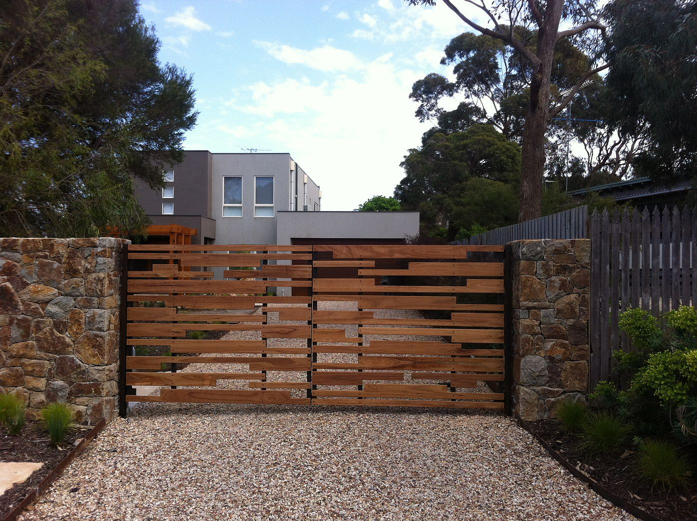 Contemporary Driveway Original Steel Or Timber Driveway Entrance Gates Built In