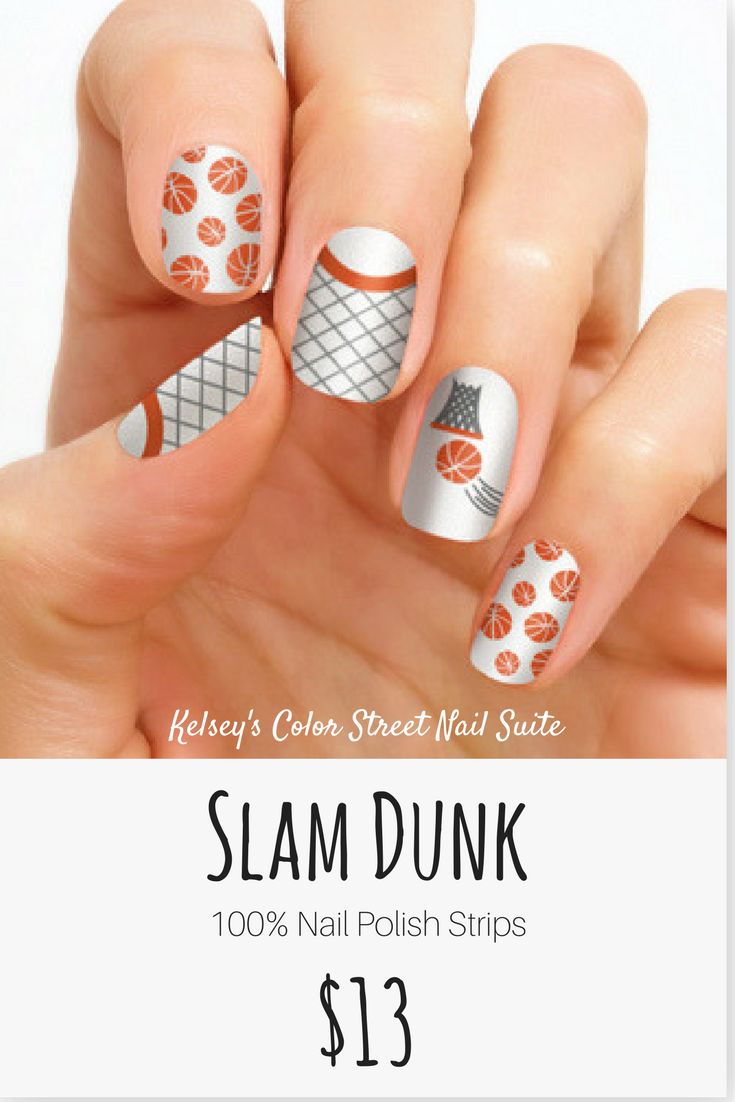 Basketball nail art. A fun way to support your favorite team! Applied dry  for a quick and easy manicure. Click for purchase options. - Color Street Slam Dunk. Basketball Nail Art. A Fun Way To Support