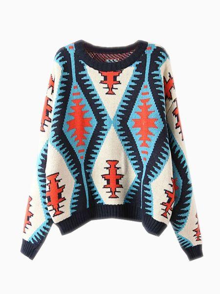 New Look Loose Knit Sweater In Geometric Pattern | Fashion