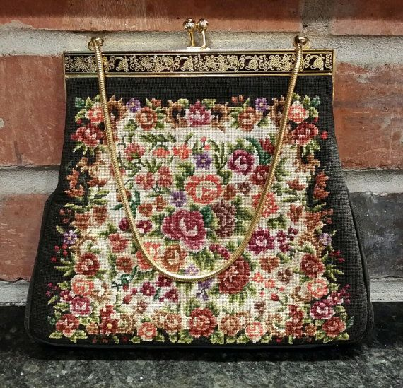 Vintage Petit Point Peking Evening Handbag Purse Small Clutch Etsy Evening Handbag Purses Embroidered Handbag