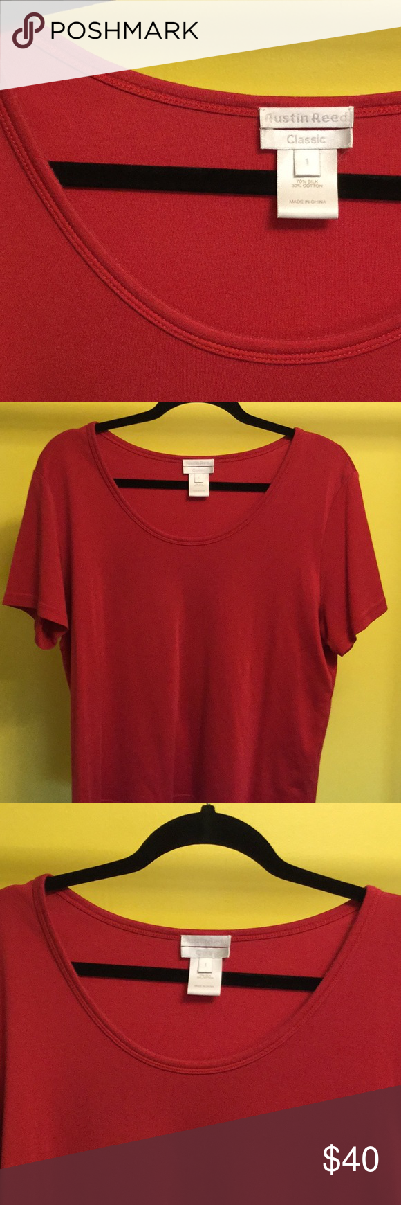 Austin Reed Xxl Red Classic Short Sleeve Silk Top Austin Reed Size 1 Xxl Deep Red Scoop Neck Short Sleeve Silk Classic Clothes Design Tops Tees Classic Tee