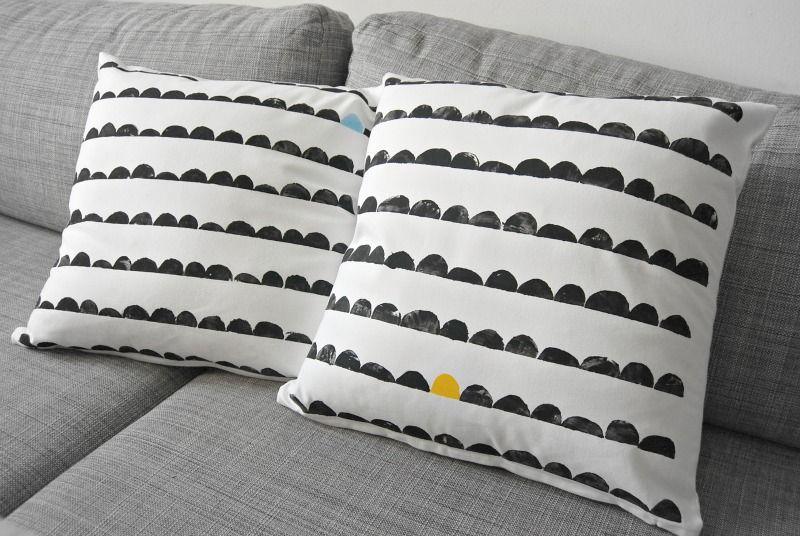 polster kartoffeldruck stoff bedrucken diy pillows diy cushion und stamp. Black Bedroom Furniture Sets. Home Design Ideas