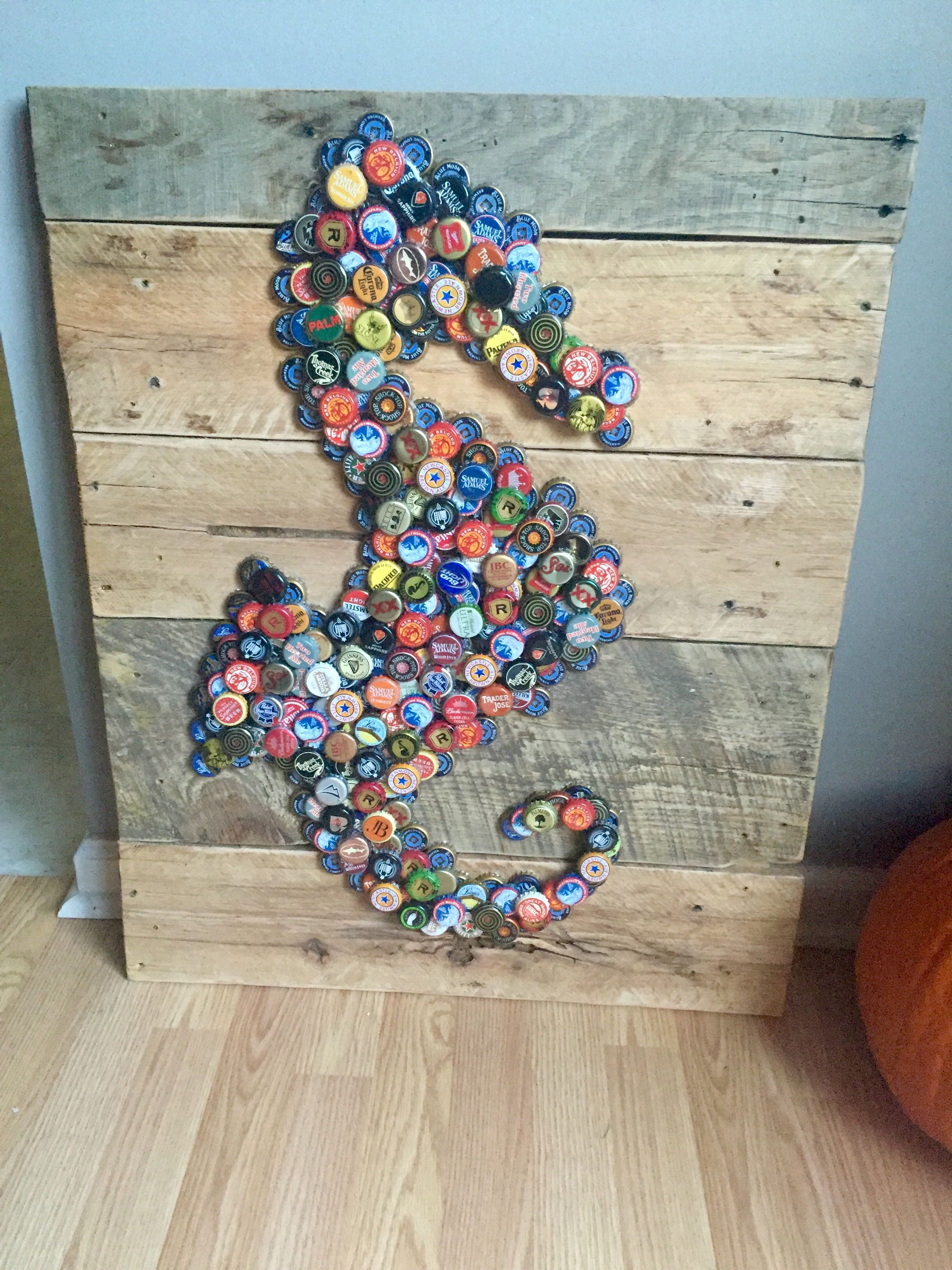 Beer Bottle Cap Art Seahorse Backyards Tapas De Botellas