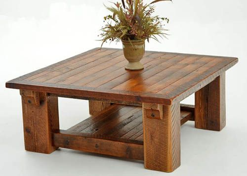 barnwood coffee table made from solid reclaimed wood beams