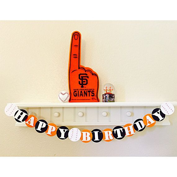 SF Giants Happy Birthday Banner Baseball By Girlygifts07
