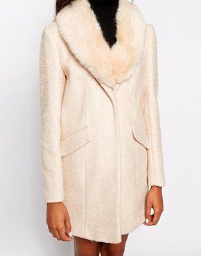Enlarge Warehouse Tweed Faux Fur Collar Coat | Coat | Pinterest ...