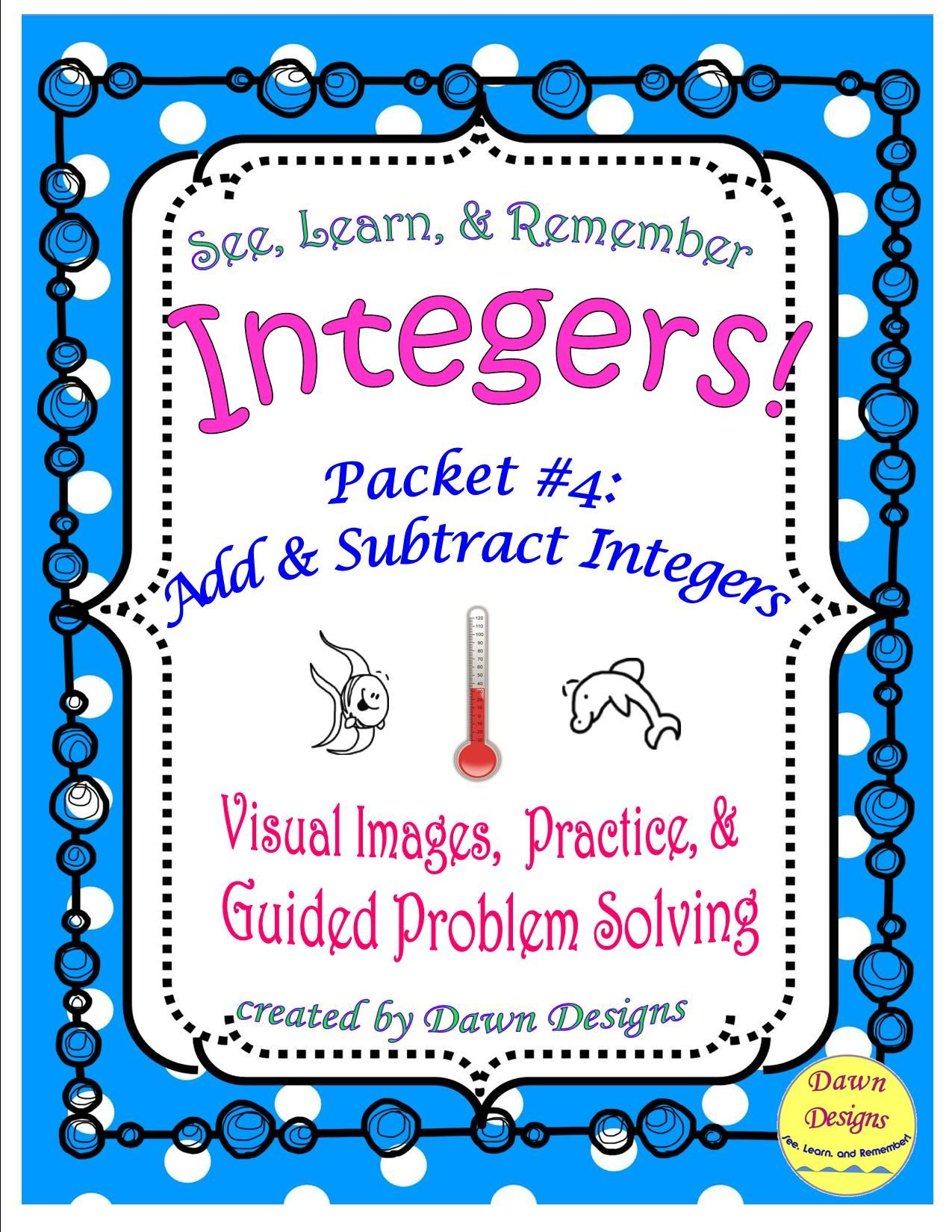 Integer Worksheet Add And Subtract Integers Subtracting Integers