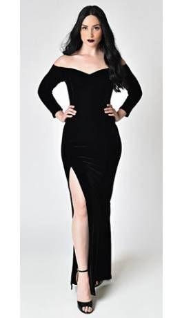 365f5d7e8124 Collectif Black Velvet Off Shoulder Sleeved Anjelica Maxi Dress ...