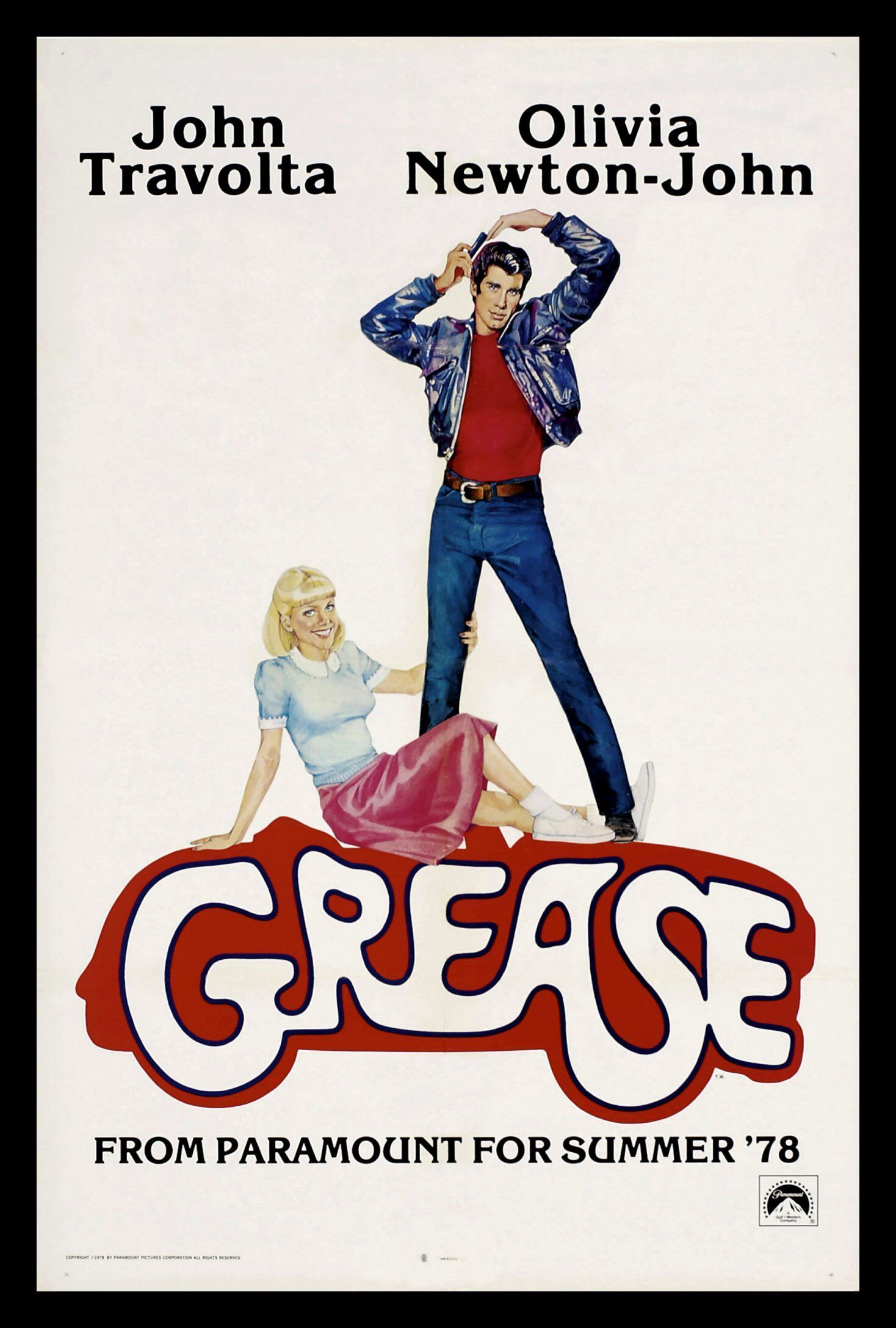 GREASE * CineMasterpieces JOHN TRAVOLTA ORIGINAL MOVIE POSTER NM-M 1978 ROLLED