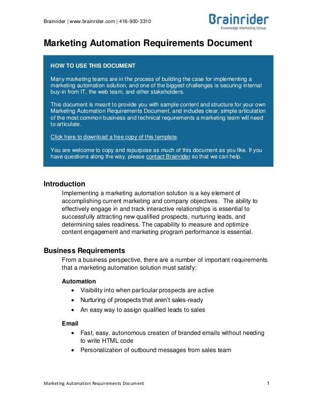 Brainrider Wwwbrainridercom Marketing Automation - Marketing requirements document template