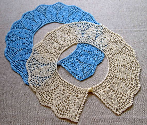 NEW Crochet collar Peter Pan collar Blue or ivory by VerLenCrochet