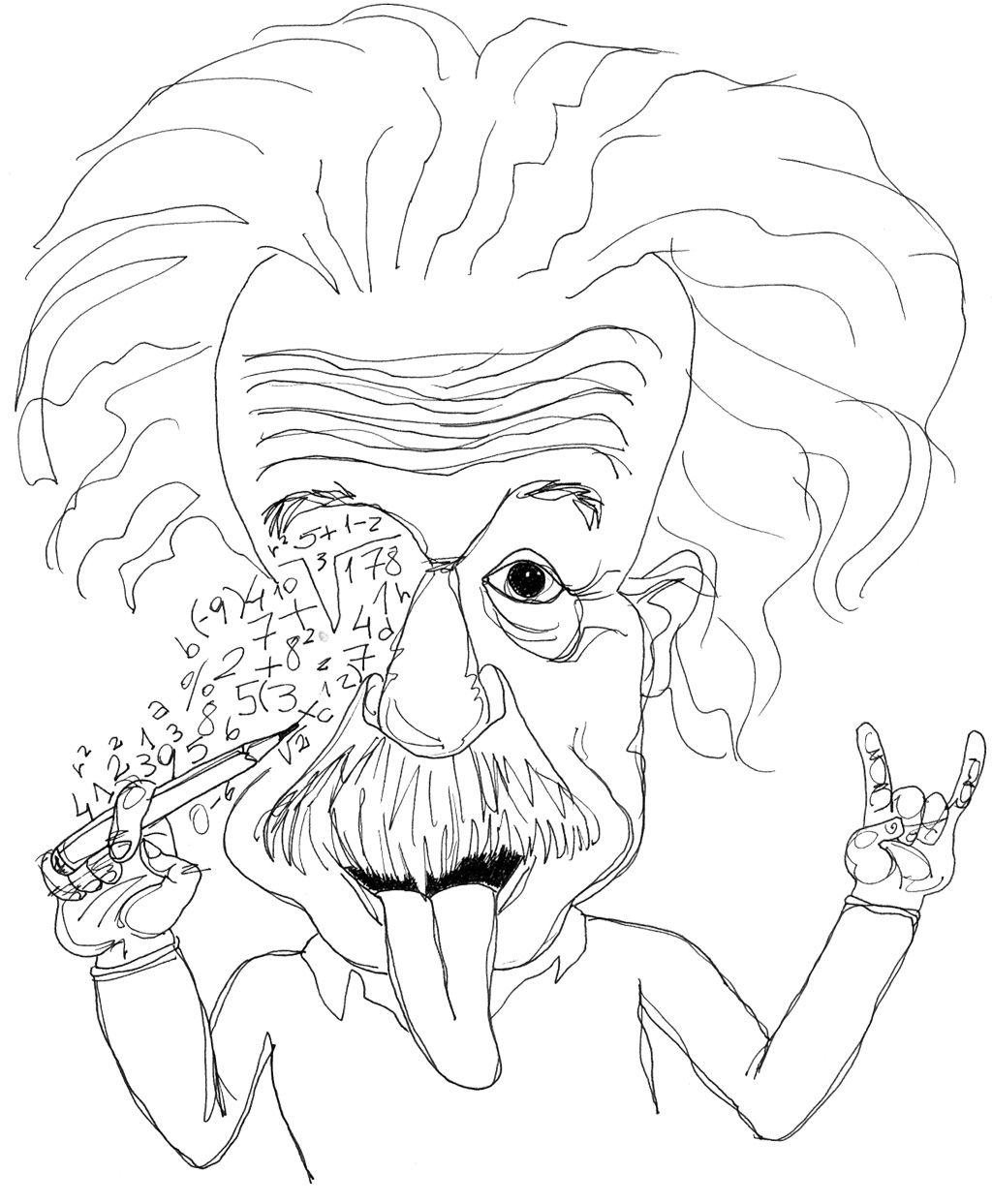 Sketch albert einstein coloring book kids coloring pages