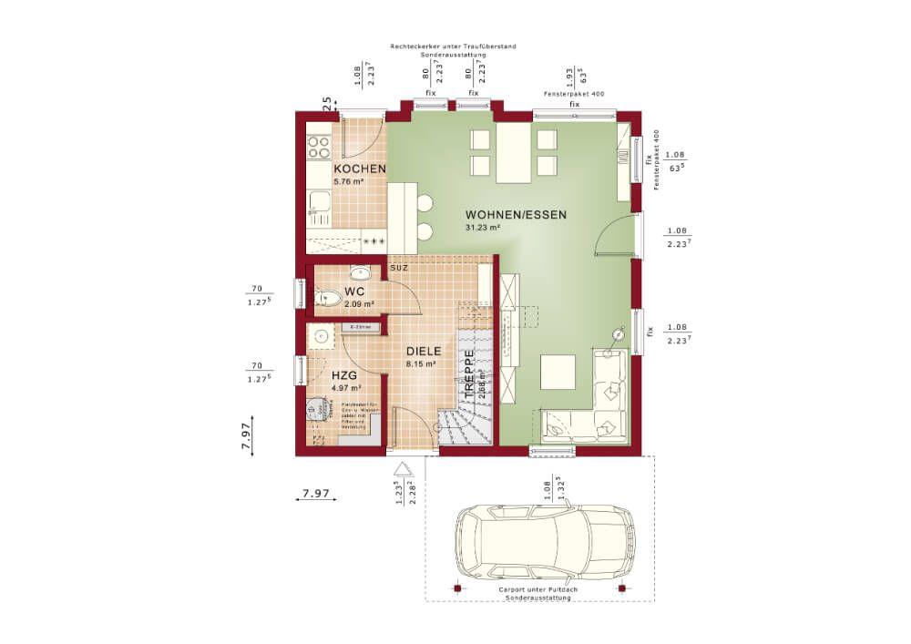 Grundriss HAUS Solution 106 V6 Living Haus * Einfamilienhaus bauen - offene kuche wohnzimmer grundriss
