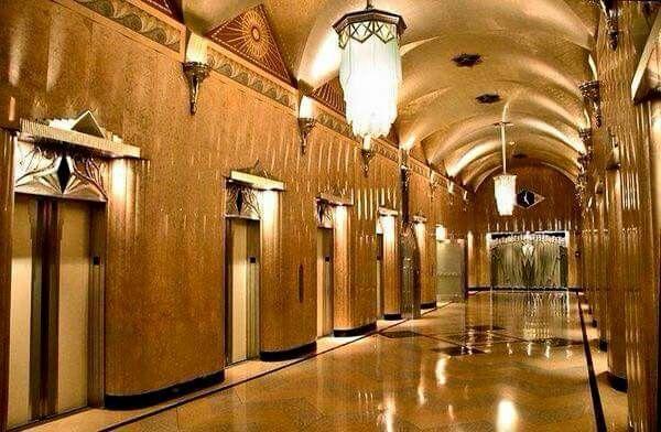 Elevators inside the GE Building, 570 Lexington Ave, NY