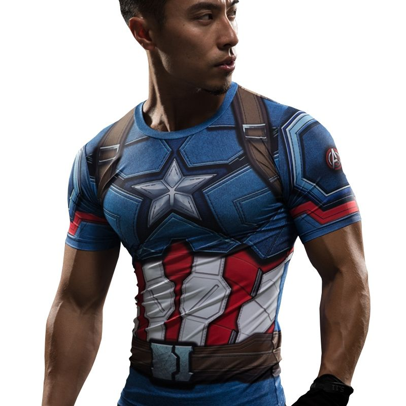 Mens Tops Superhero Avengers Marvel 3D Print T-shirt Compression Sports Gym Tee