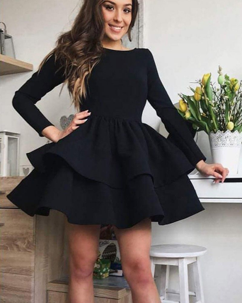 Simple Black Satin Layered Homecoming Dress with Long ...