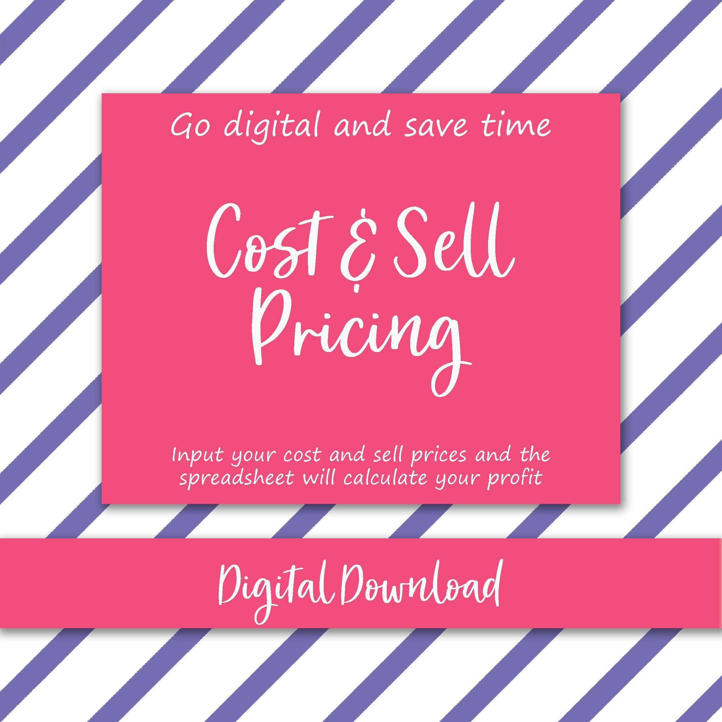 Cost and sell price file excel digital template profit