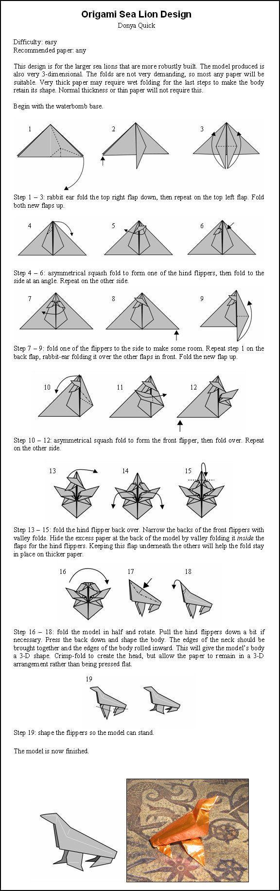 Origami sea lion instructions by donyaquick paper pinterest origami sea lion instructions by donyaquick jeuxipadfo Choice Image