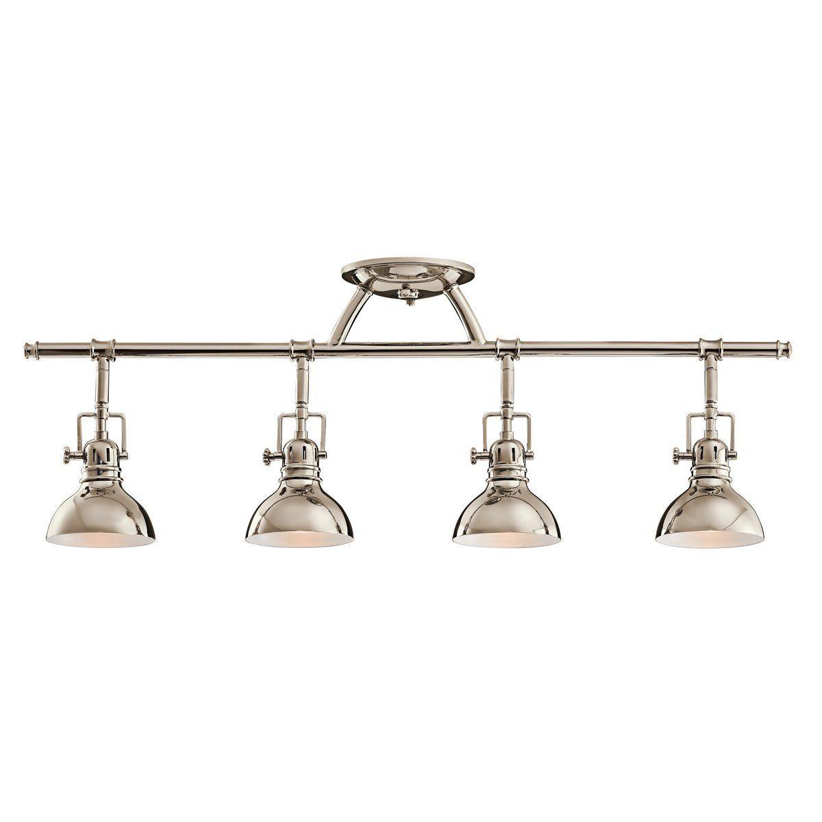 $208 Kichler Lighting 7704PN 4-Light Fixed Rail Directional Light ...