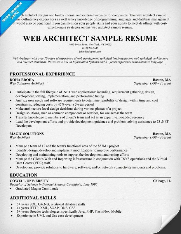 Web Architect Resume ResumecompanionCom  Resume Samples
