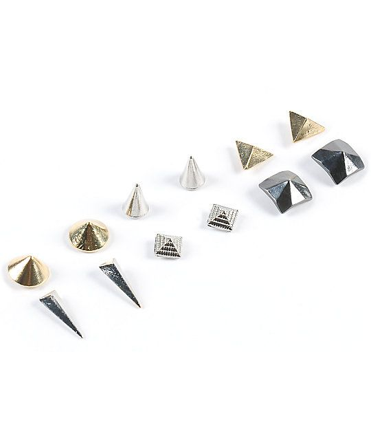 Add Some Edge To Any Look With This Six Pack Of Stud Earrings That Feature Gold