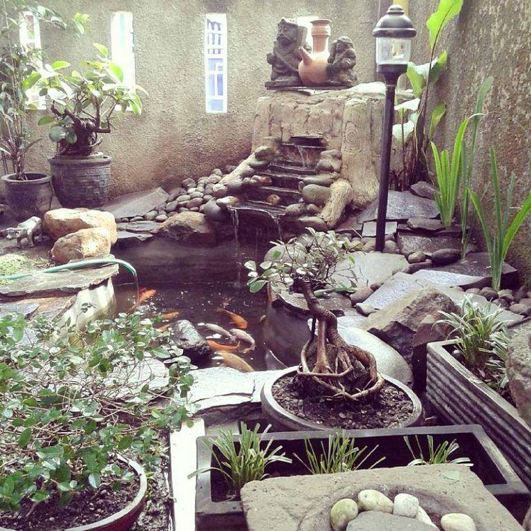 Kolam Ikan Minimalis Batu Alam Landscape Design Backyard Pond