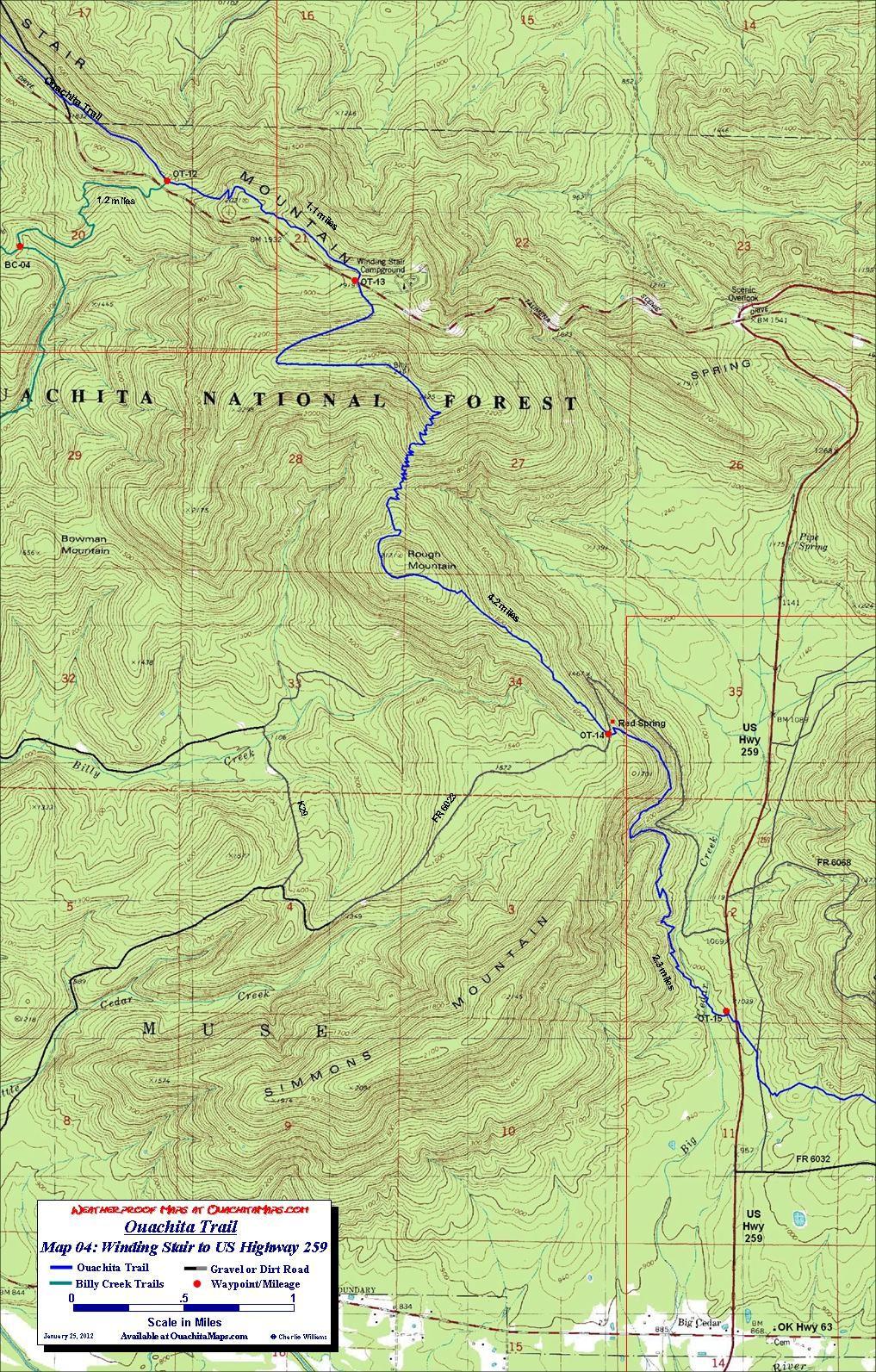 Ouachita Trail Maps, Ouachita Mountains, OK-AR. Free detailed topos ...