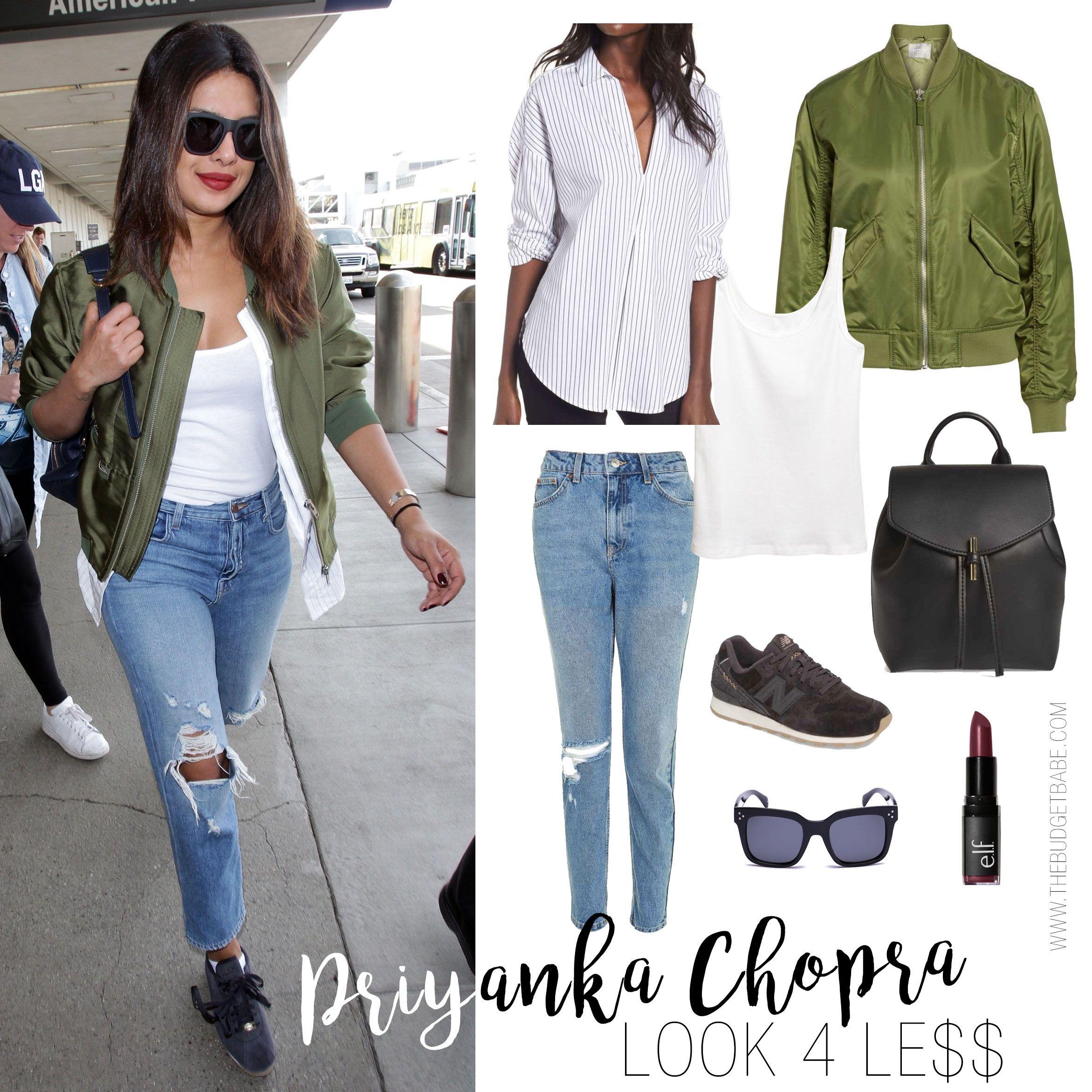 Priyanka Chopra's Olive Bomber Jacket and Suede Sneakers