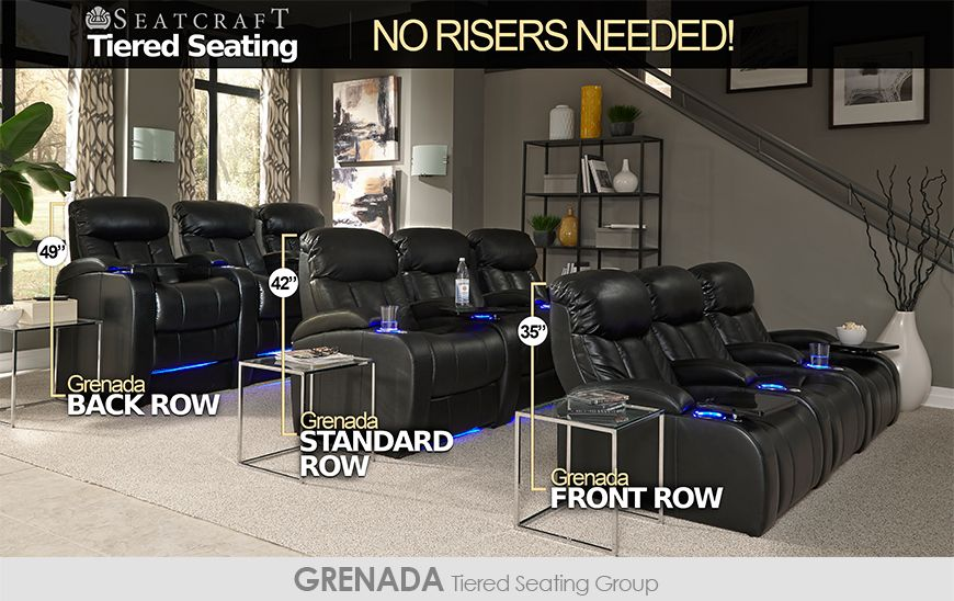 Seatcraft tiered home theater seating without risers - Home theater stadium seating design ...