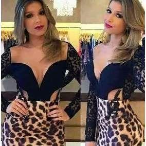 b4bf819a1 Vestidos Onça Oncinha Femininos Juju Balada Panicat Festa