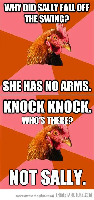 Anti Joke Chicken S Double Shot Anti Jokes Corny Jokes Chicken Jokes
