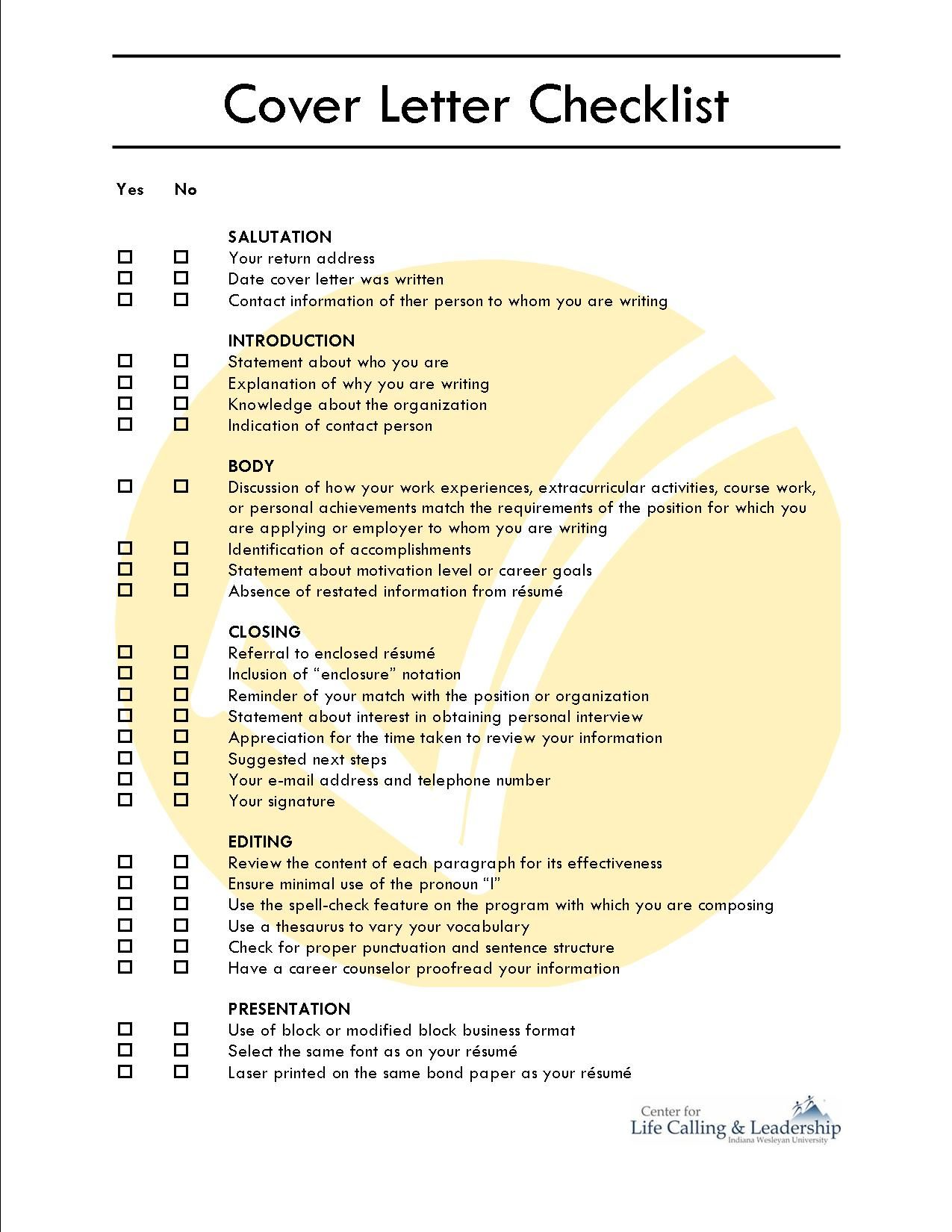 cover letter checklist   Cover