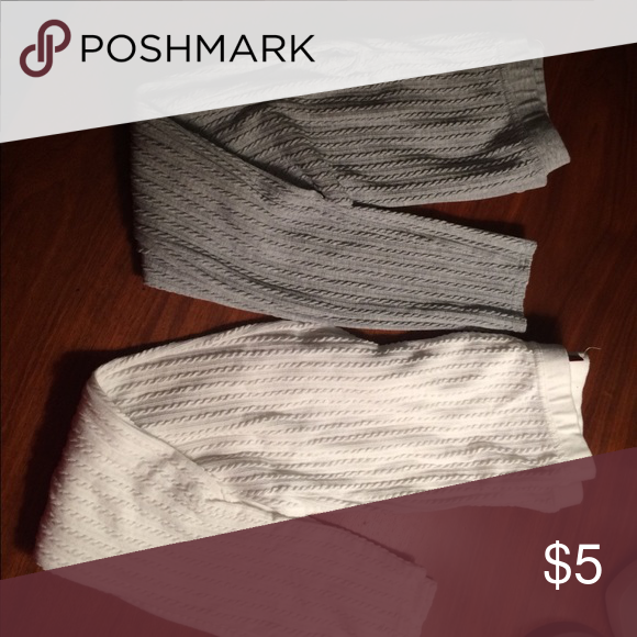 $5 Bundle Item Lot TWO Pairs SO Medium Leggings EUC! Lot of two pairs SO brand leggings. Gray and off white. Bundle items must be bundled with three or more items to receive bundle price. SO Accessories Hosiery & Socks
