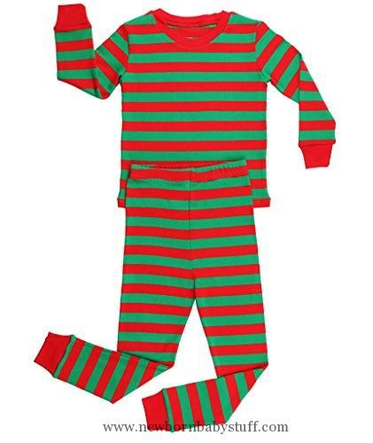 Baby Girl Clothes Elowel Striped 2 Piece Pajama Set Red Green 18