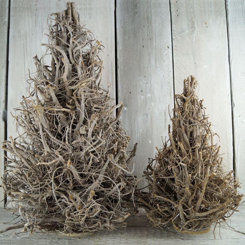 Rooted Christmas Tree: Gently Whitewashed Root And Twig Christmas Trees