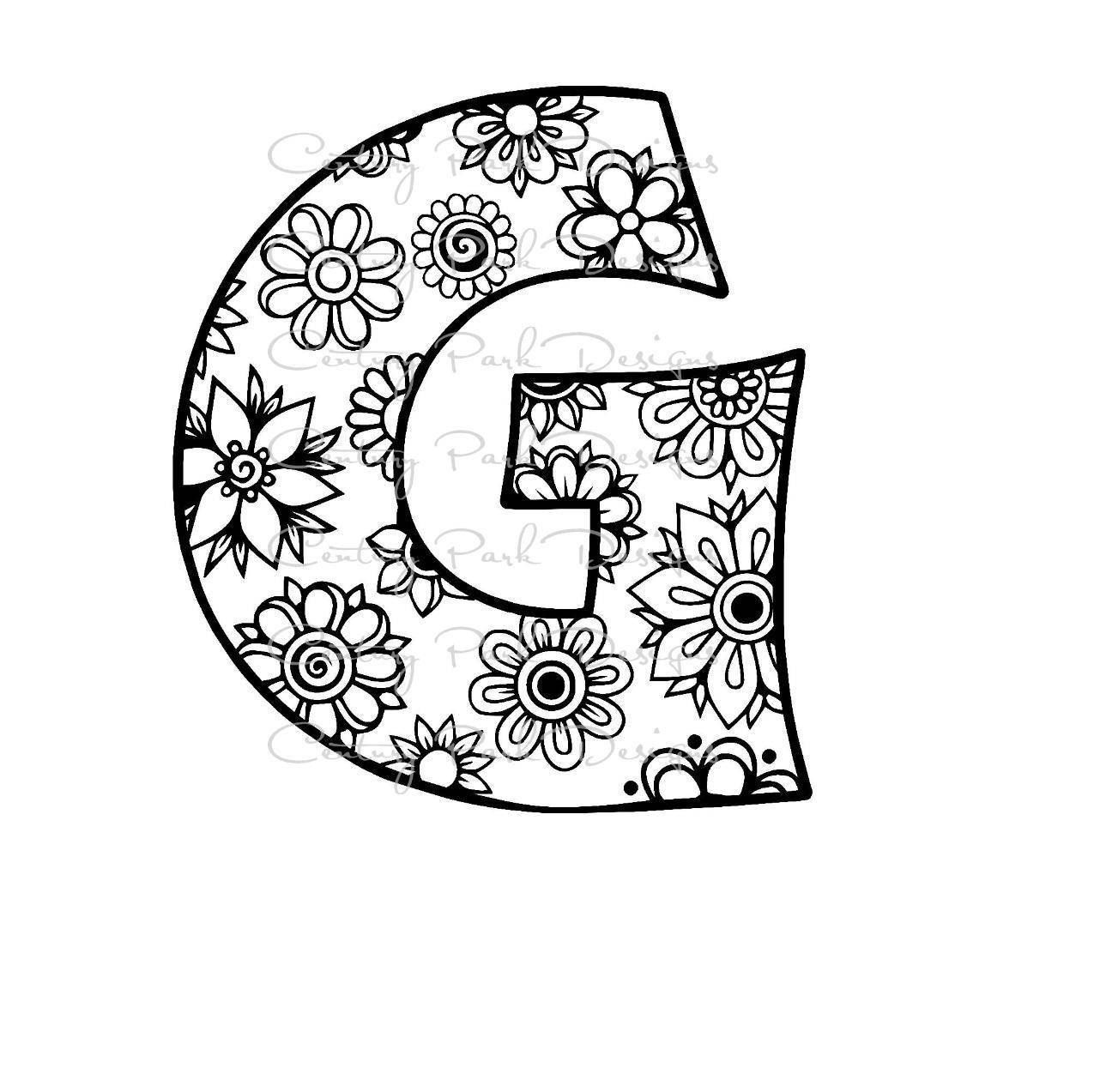 Letter G Alphabet Flowers SVG JPEG PNG Pdf Use With Silhouette Studio And Cricut Design Space