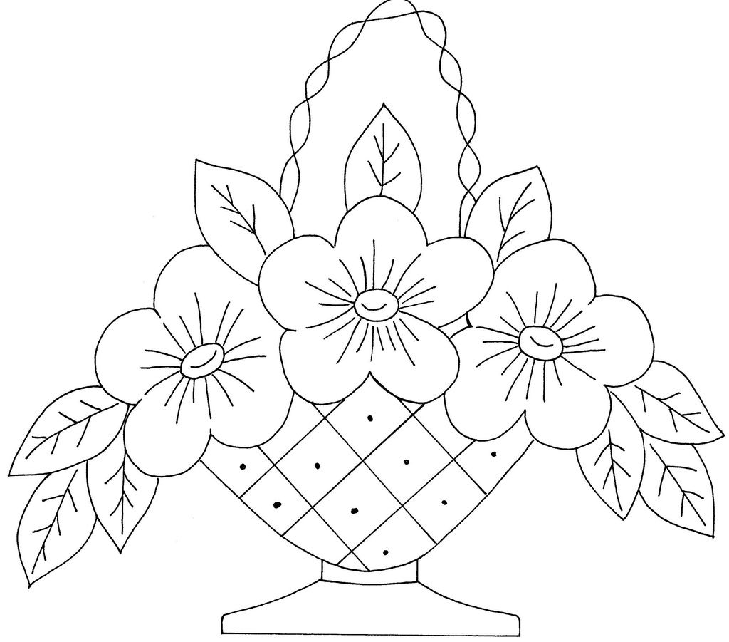 Flower Basket 9 Embroidery Patterns Vintage Embroidery Flowers Crewel Embroidery